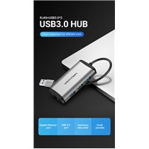 Docking Station USB 3.0 para 3* USB 3.0 e Gigabit Ethernet - Vention