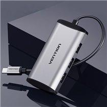 HUB Tipo-C com 3 * USB 3.0 e 1 * Micro USB de 0,15 metros - Cinzento Metalizado - Vention