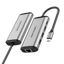 Docking Station Multifunções Tipo-C para USB 3.0, Gigabit Ethernet e PD de 0,15 metros - Cinzento - Vention