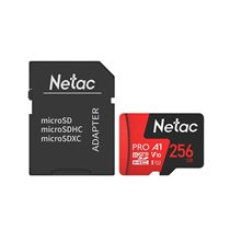 Cartão Micro SD P500 Extreme Pro Netac, de 256GB, com Adaptador