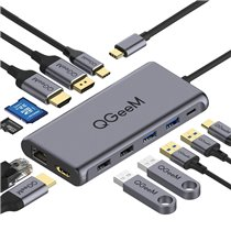 Docking Station Tipo-C 12 em 1 Para USB, HDMI, DisplayPort, Tipo-C, RJ45 e Leitor de Cartões SD/TF - QGeeM