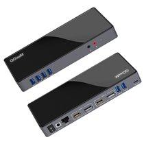 Docking Station 14 em 1 USB 3.0 para USB, HDMI, DP, Ethernet, Fones e Microfone - QgeeM
