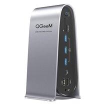 Docking Station 16 em 1 USB Tipo-C para USB, HDMI, DP, Ethernet, RJ45, Leitor de Cartões SD/TF e Power Delivery - QgeeM