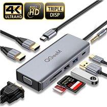 Docking Station Tipo-C 9 em 1 Para USB, Tipo-C, HDMI, Leitor de Cartões, Rj45, Jack 3.5mm - QgeeM