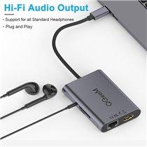 Docking Station Tipo-C 8 em 1 Para USB, HDMI, RJ45, Leitor de Cartões TF/SD, PD e Jack 3.5mm - QgeeM