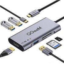 Docking Station Tipo-C 7 em 1 Para USB, HDMI, PD e Leitor de Cartões SD/TF - QgeeM
