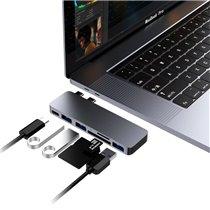 Docking Station 2 Tipo-C 6 em 1 Para USB, Thunderbolt 3 e Leitor de Cartões SD/TF - QgeeM