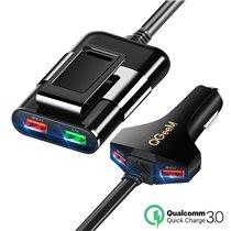 Carregador de Isqueiro com Carregamento Rápido e 4* Portas USB - QgeeM