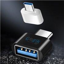 Mini Adaptador OTG Tipo-C para USB 3.0 - Branco e Preto - Goeik