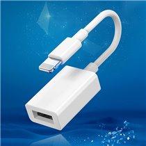 Cabo Adaptador OTG Lightning para USB 3.0 - Branco - Goeik