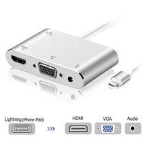 Cabo Adaptador Conversor para iPhone ou iPad - Lightning Para VGA, HDMI, Jack Áudio 3.5mm, Vídeo HDTV – Branco – Goeik