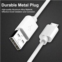 Cabo de Carregamento de Telemóvel e Dados Micro USB para USB de 1 metro e 2 Amperes - Branco - Goeik