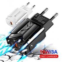 Carregador 18W 3.0 USB 5V 3A - Carregamento Rápido - Branco e Preto - Goeik