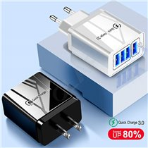 Carregador USB Carregamento Rápido Qualcomm 3.0 com 4 Portas USB para telemóvel Android ou iPhone - Goeik