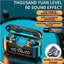 Fones Auriculares Bluetooth TWS 9D com Powerbank e Carregamento de Telemóvel - Goeik